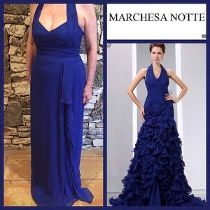 Marchesa Notte Royal Blue Halter Gown. Size 8
